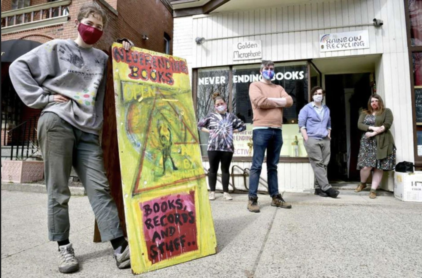 Jessica Larkin-Wells of New Haven, Jordanna Packtor of New Haven, Conor Perreault of New Haven, Peter Cunningham of Hamden and Jules Bakes of Hamden, from left, are fans of the community-minded Never Ending Books in New Haven. (Peter Hvizdak photo)